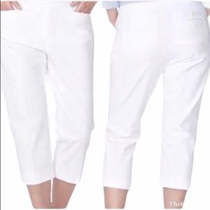 Chaps Slimming Fit Stretch Capri Pants White 22W
